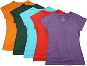 Aviva Women's Five-Pack Assorted Color Dry Fit Active Tops