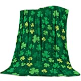 Gogobebe Flannel Fleece Throw Blanket for Sofa Couch Bed St. Patrick's Day Shamrock Lucky Iris Soft Cozy Lightweight Blanket for Adults/Kids 39x49inch