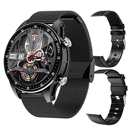 FMSBSC Smartwatch Reloj Medidor De Temperatura Corporal Llamadas Bluetooth Pulsera Actividad Inteligente con 11 Modos Deportivos Monitor De Pulsómetros Sueño Oxigeno Spo2 Presión Arterial,Negro