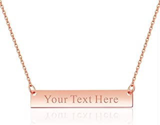Personalized Engraved Bar Necklace Pendant Initial Text Custom Gift for Woman Kids Mom Sister Daughter Grandma Girlfriend Graduation Wedding Birthday Anniversary