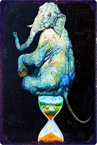 Decoración De Barra De Hojalata De Metal De Estilo Vintage, Letrero De Chapa De Reloj De Arena De Elefante, Placa De Decoración Del Hogar Elegante Lamentable, Arte De Pared, Cueva De Hombre-20X30Cm