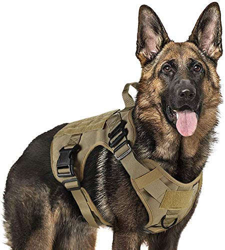 "Rabbitgoo Tactical Dog Harness Vest Medium with Handle, Military Dog Harness Working Dog Vest with MOLLE & Loop Panels, No-Pull Adjustable Training Vest, Tan, Medium Size, Chest (25.4-36.0"")"