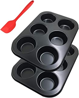 6-Cup Metal Muffin Mold Bonus with Spatula, SourceTon 3 PCS pack of Non-Stick Muffin Mold and Spatula Set, Baking Pan, Cup...