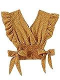 LYANER Women's V Neck Polka Dots Ruffle Cap Sleeve Shirred Hem Blouse Crop Tank Top Ginger Large