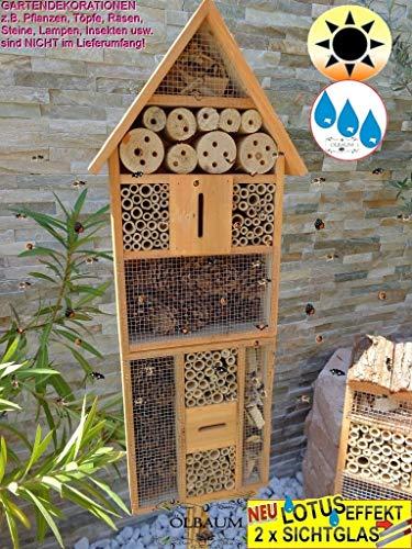 BTV 1x XXL Insektenhotel, mit Lotus+2xBrutröhrchen, Bienenhaus Spitzdach HOCH, mit Standfuß UND TRÄNKE insektenhotel Hellbraun