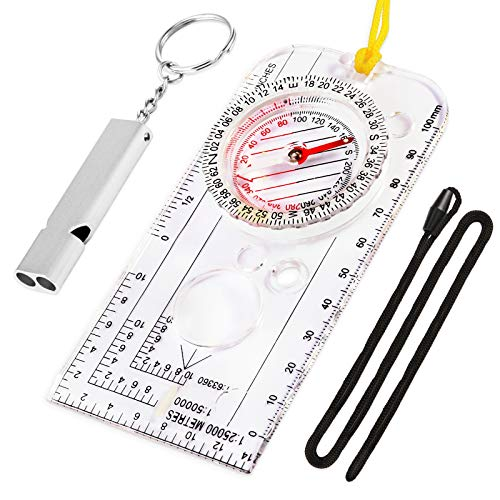 weefu Compass Orienteering, Clear Compass Navigation Compass for Hiking, Walking, Camping, Mountaineering with Emergency Whistle Neck Strap with Storage Box