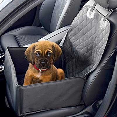2 In 1 Dog Booster Car Seat Cover | Waterproof Pet Travelling Vehicle Puppy Carrier | Passenger Seat Cat & Dog Quilted Foldable Protector | Pukkr