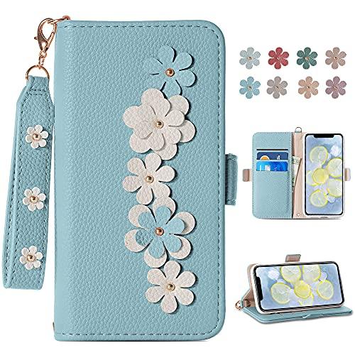 Funda para iPhone 12 Mini cartera para teléfono, linda cartera de flores, cubierta protectora para tarjetas, suave TPU para iPhone 12 Mini (5,4 pulgadas), con correa para la muñeca