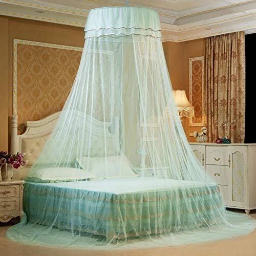 Emoshayoga Cortina Transpirable Decorativa Plegable Mosquitera Encaje Babyroom Hogar Dormitorio(Water Blue)