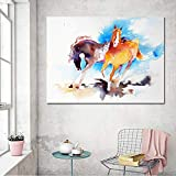 Aquarelle Running Horses Toile Peinture Moderne Simple Photos pour Salon Mur Art Imprimer Affiche Décor Art A 20x25 cm