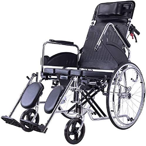 XXY.XXY Rollstuhl Rollstuhl Multifunktionsvoll liegender leichter Transport, der tragbaren Reise-Klappstuhl für ältere Menschen, behinderten Kinderwagen-Roller mit Töpfchen faltet