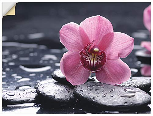 Artland Wandbild selbstklebend Vinylfolie 60x45 cm Wanddeko Wandtattoo Botanik Blumen Orchideen Steine Zen Spa Wasser T9MN
