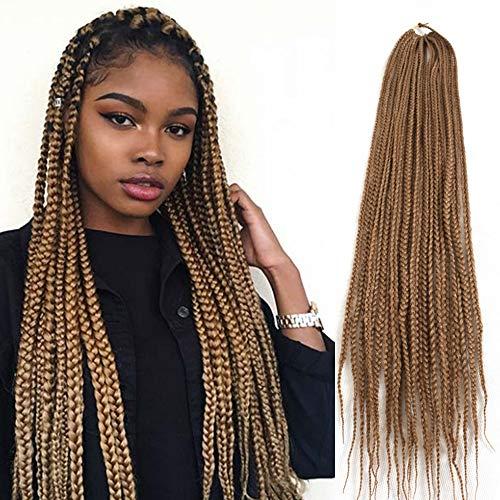 6 Packs/Lot 22 Strands/Pack Medium Box Braids Crochet Hair 30 Inch 1cm in Diameter 3X Synthetic Braiding Hair Extensions (#27)