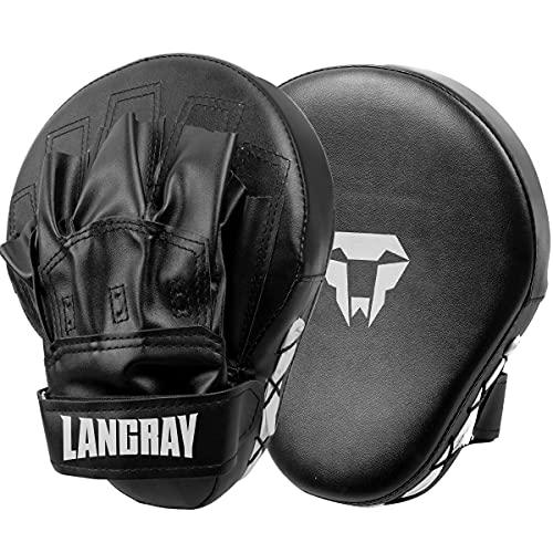 LangRay 1 Paio Pad Boxe, Colpitore Scudo Boxing Guantoni da Boxe Curvi da Boxe per Karate, Muay Thai Kick, Sparring, Arti Marziali,Nero