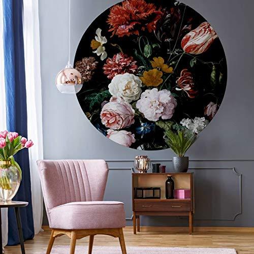Fototapete Vliestapete Rund Heem - Stillleben mit Blumen in einer Glasvase Kunstdruck Gemälde Blumenstrauß Arrangement Rose Pfingstrose Stillleben inkl. Schablone Ø140 cm