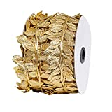 Molshine 164FT/50M Artificial Rattan Leaves Leaf Ribbons,Fake Hanging Plants Foliage Vines for Wall Garland DIY Crafts Party Wedding Home Decorations (Gold)