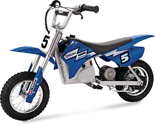 Razor MX350 Dirt Rocket Electric Motocross Off-road Bike for Age 13+, Up to 30 Minutes Continuous Ride Time, 12' Air-filled Tires, Hand-operated Rear...
