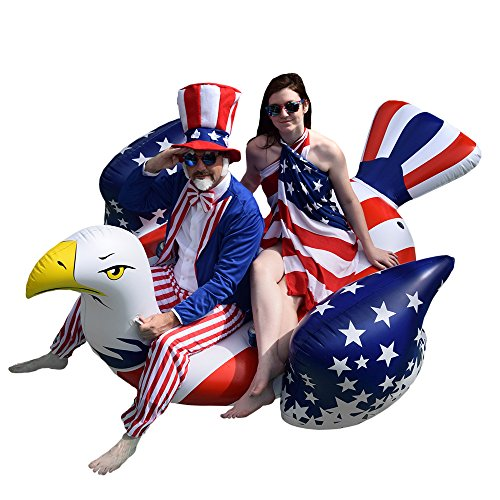 Colonel Pickles Novelties Giant Inflatable American Bald Eagle – Premium Patriotic Pool Floats Rafts & Swimming Pool Toys