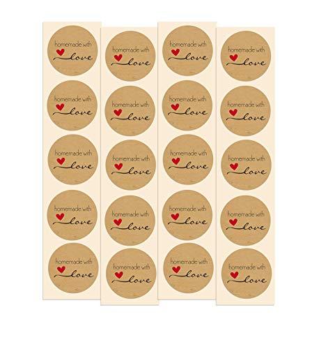 Homemade with Love Stickers   100 Pack   1.5  Inch Round Natural Kraft - Perfect for Baked Goods, Canned Goods, Jam, Jelly, Candles, Soap, Home Made Products