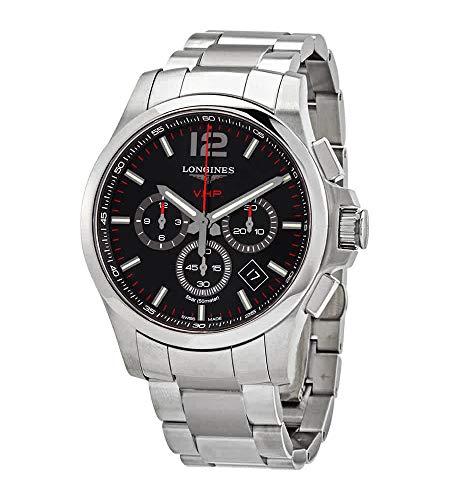 Longines Conquest V.H.P. Perpetuo Reloj cronógrafo de cuarzo con esfera negra para hombre L37274566