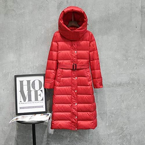 KGLOPYE Daunenmantel Winter weißen Parka Dame mit Kapuze ultraleichten Langen Daunenmantel Mantel schlanke Einreiher Gürtel Mantel, rot, S