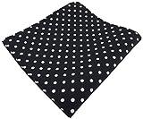 TigerTie diseñador Pañuelo de seda en negro blanco lunares - pañuelo 100% de seda