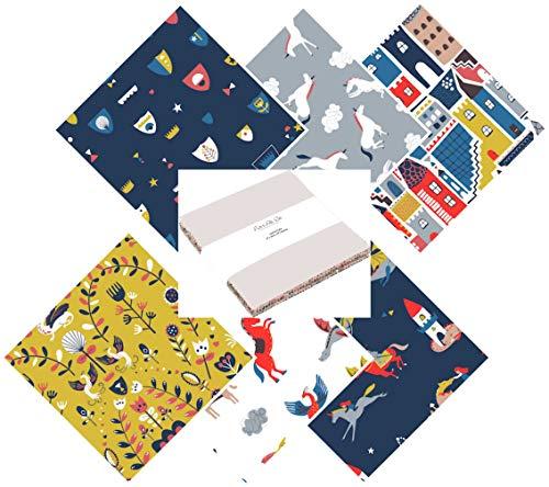 Dashwood Studio Een Roaring Goede Garen Ridders en Draken Stoffen Charm Packs, Jelly Rolls, Layer Cakes en Fat Quarter Packs Layered Cake (42 x 10
