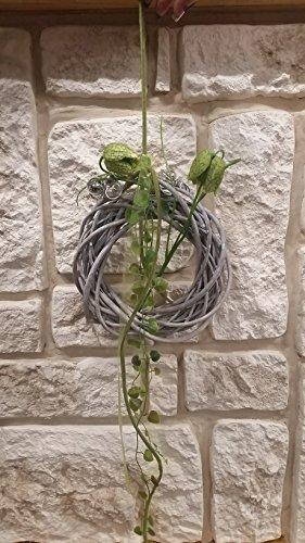HIKO-EVENTDEKO Türkranz Wandkranz Nr.7 Weidekranz grau-beige 20 cm Schachblumen Seidenblume