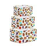 Cesta grande de almacenamiento de lona con búho encantador: cesta de tela de 3 piezas con asas de cuerda: perfecta para el almacenamiento doméstico, juguetes o lavandería.
