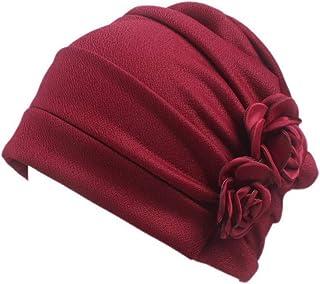 Helisopus Women's Strench Side Flower Pleated Muslim Headband Scarf Beanie Turban Chemo Cancer Cap Hat