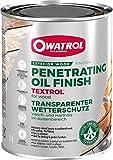 OWATROL – TEXTROL – 1 L – farblos – Holzsättiger für den Außenbereich auf natürlicher Pflanzenölbasis für Holzhäuser, Zäune, Gartenhäuser, Holzfassaden, Holz im Außenbereich – Holzschutzöl für Terrassen und Möbel