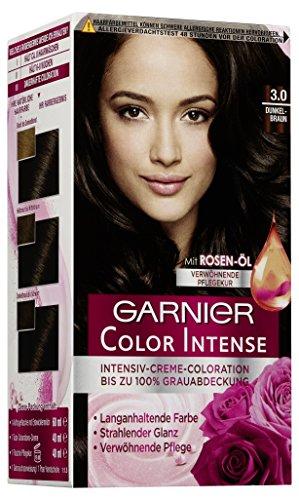 Garnier Color Intense, Intensive Creme Coloration Bis Zum 100% Grauabdeckung mit Rosen Öl, 3er Pack