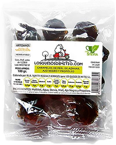 Caramelos artesanales de propoleo, miel de azahar y ajo negro elaborados sin azúcar añadido (originales y buenos para la garganta, 3 bolsas de 100g, con stevia), de Losquesosdemitio