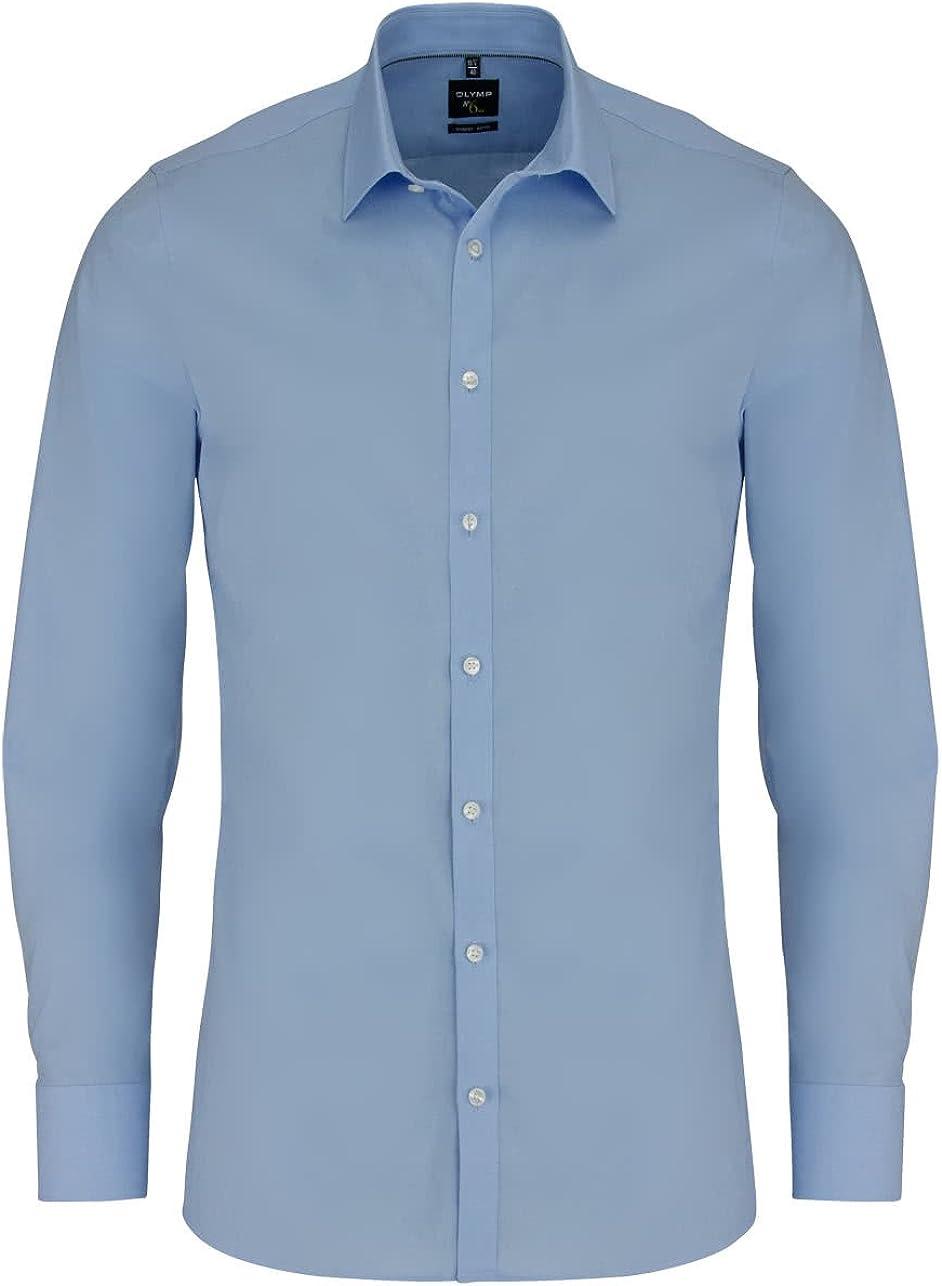 Olymp Camisa Super Slim No 6, color azul claro, manga extralarga 69 cm, fácil de planchar, Comfort Stretch, Urban Kent
