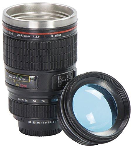 Grinscard Kaffeebecher mit Linsen Deckel - Schwarz Kameraobjektiv Design 0,35l - Gadget Thermotasse für Unterwegs