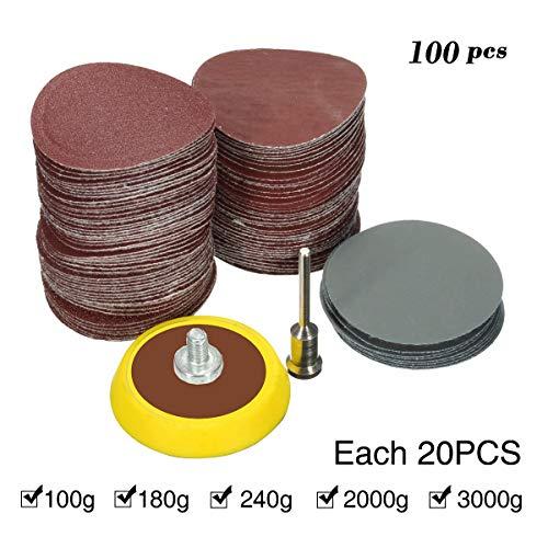 SAFETYON 100pcs Schleifpapier Set mit Klett-Stützteller Ø25mm, Schleifscheiben Polieren (je 20 Stück mit den Körnungen 100/180/240/2000/3000), Sanding Discs mit Schleifen Schleifpad und Schaft