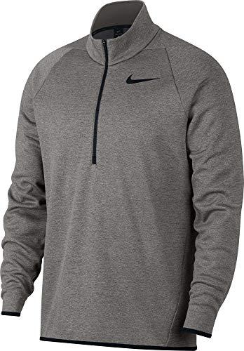 Nike Men's Therma 1/4 Zip Fleece Pullover (Dk Grey Heather/Black, Small)