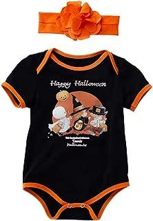 Tianhaik 3Pcs Infant Newborn Baby Halloween Pumpkin Outfits Set Romper Hat Pants