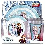 p:os 33501 Set da Colazione 3 Pezzi con Motivo Disney Frozen II, Composto da Piatto, Ciotola e Tazza, in Polipropilene, Senza BPA e ftalati, Adatto al microonde, Plastica