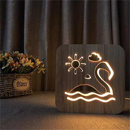 Schwan Schwimmen Holz 3D Illusion Lampe Schnitzen Kreative Led Nachtlicht Usb Schreibtisch Tisch Für Kinder Geschenk Home Decoration
