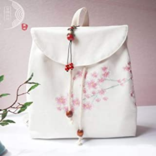 Rjj Creative Accessories Student Backpack Shoulder Bag/Hand-Painted Theatrical Canvas Bag Lady Bag Exquisite (Color : White)