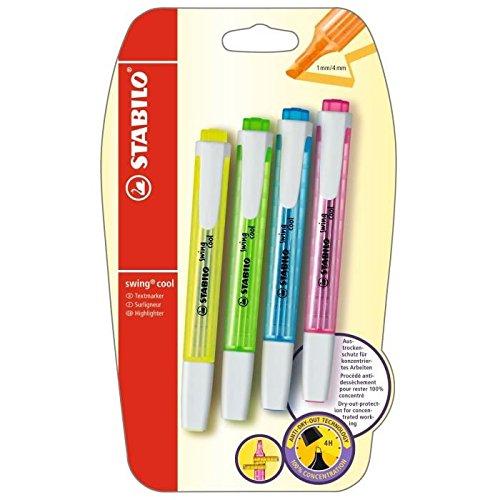 Evidenziatore – Stabilo Swing Cool – Confezione da 4 evidenziatori, colori assortiti