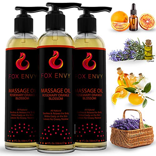 Fox Envy Massage Oil for Women, Men and Couples, with Coconut Oil & Jojoba Oil, Enhances Stimulation for The Body & Muscles, 1 Bottle of 8 FL Ounces (Orange Blossom with Rosemary)