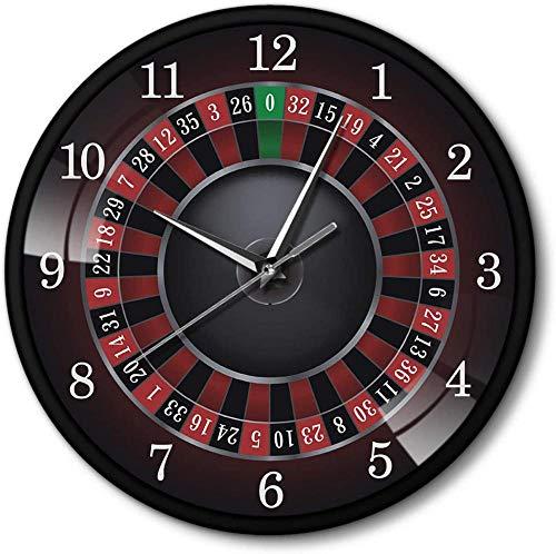 Reloj De Pared De Ruleta De Póquer Grande Con Marco De Metal Negro Sala De Juegos De Las Vegas Decoración De Arte De Pared Reloj Reloj Reloj De Juego Regalo De Casino Adecuado Para