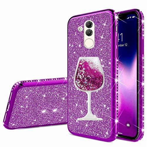 Nadoli Glitzer Hülle für Huawei Mate 20 Lite,Kristall Diamant Strass Bumper mit 3D Fließend Flüssig Treibsand Weinglas Silikon Handyhülle Frauen für Huawei Mate 20 Lite