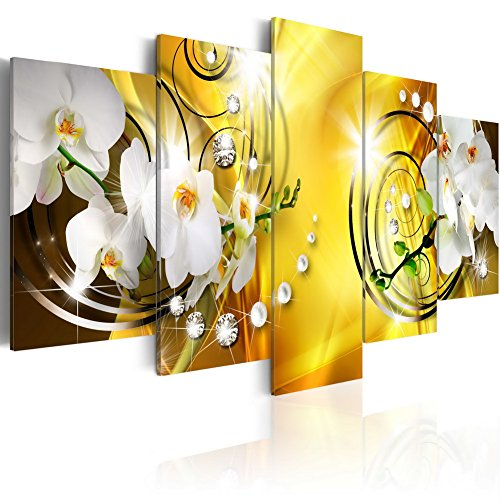 """Everlands Art Flower Canvas Print Art Wall Decor Picture 5 Panels White Orchid Floral Painting Contemporary Diamond HD Yellow Artwork for Bedroom Framed Ready to Hang (40""""x20"""", Yellow Admiration)"""