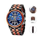 Men's Wooden Watches,Quartz Business Chronograph Date Wrist Watch,Wood Watch Multi-fuctional Luminous Pointers, Classic