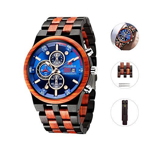 Holzuhr für Herren,Holz Männer Natürliche Holzuhr Multifunktionale Quartz Armbanduhr mit Datumsanzeige Leicht Handgefertigt Leuchtuhr,Holzarmband Verstellbarem…