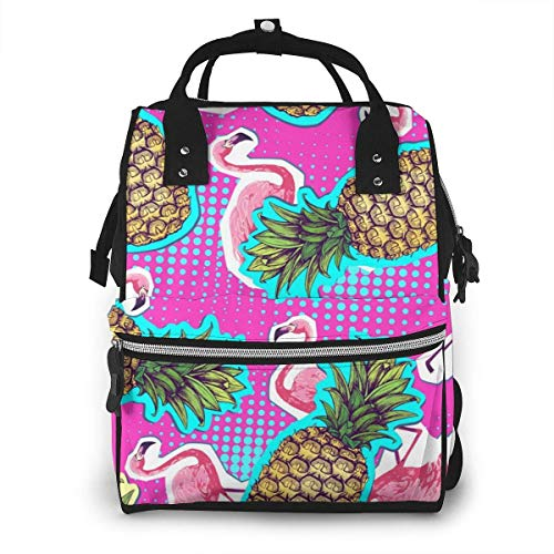 UUwant Sac à Dos à Couches pour Maman Large Capacity Diaper Backpack Travel Manager Baby Care Replacement Bag Nappy Bags Mummy BackpackSummer Seamless Bright Pattern with Flamingo Pineapple