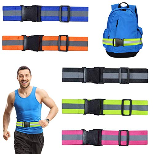 Dazzfond Reflective Elastic Belt or Sash,Adjustable High Visibility Military Heritage Style Glow Belt for Night Running, Cycling, Walking(5 PCS